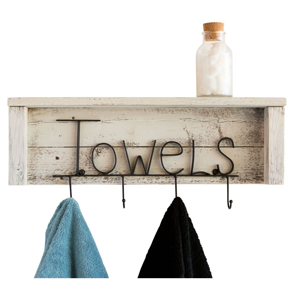 Drakestone Designs Wood Bathroom Towel Rack Hooks 24 Inch | Wall Mount | Handmade Rustic Reclaimed Wood - Whitewash