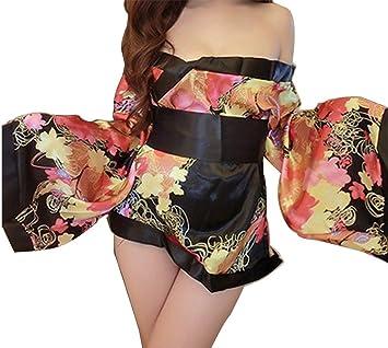 Ailin home- Ropa interior atractiva Mujeres atractivas Rosa Pijamas cereza japonesa Adulto Kimono Tentación Traje
