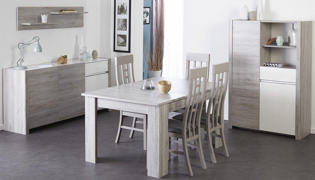 Esszimmer Luena 1 Portofino grau weiß Hochglanz Esstisch 4x Stuhl Highboard Sideboard Wandregal Wohnzimmer Esszimmertisch Tisch Schrank Anrichte Regal