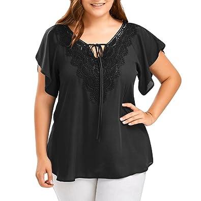 8e716b8b6d3f8 Plus Size Tops Womens ❤ Summer Fashion Chiffon Lace Blouse Bat Sleeve T- Shirt