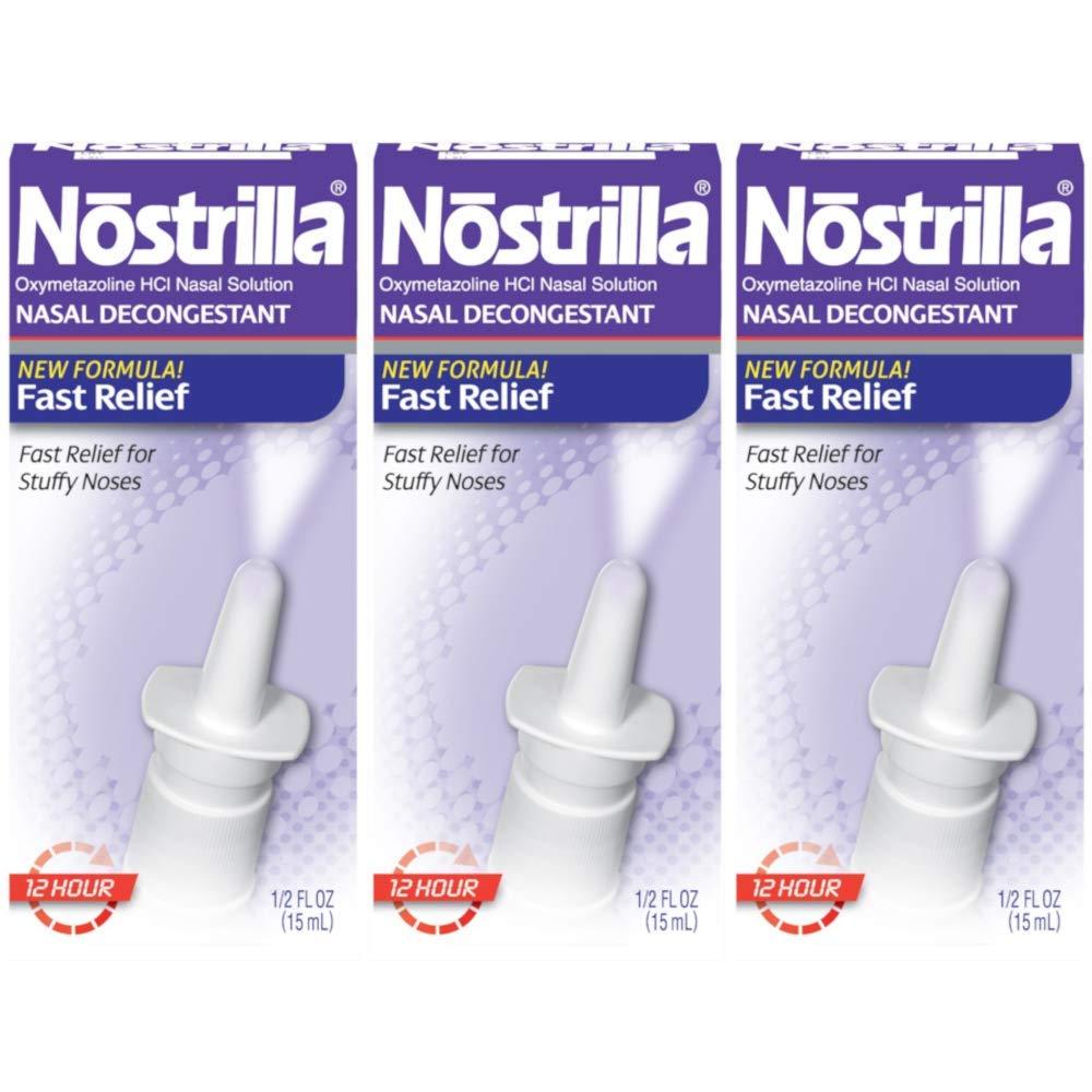 Nostrilla 12 Hour Nasal Decongestant 0.5 Oz (3 Pack) by Nostrilla