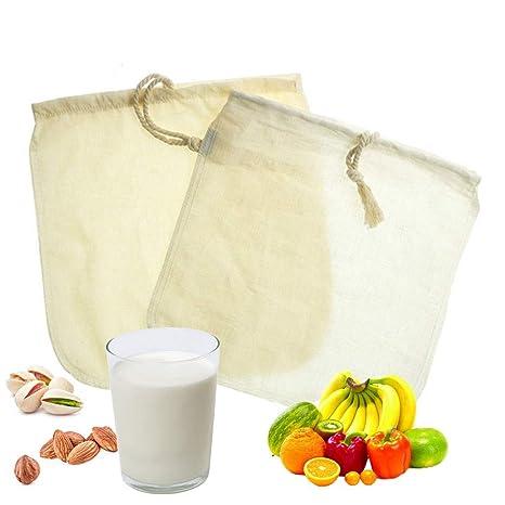 Amazon.com: Algodón orgánico bolsa de leche de nuez, 2 pack ...