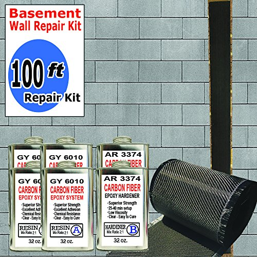(100 ft-Carbon Fiber-Basement Wall Crack Repair Kit)