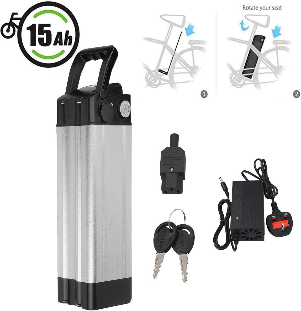 Vinteky Ebike Battery 24V 15AH E-Bike Pedelec Baterías de Iones de Litio con Soporte y Cargador