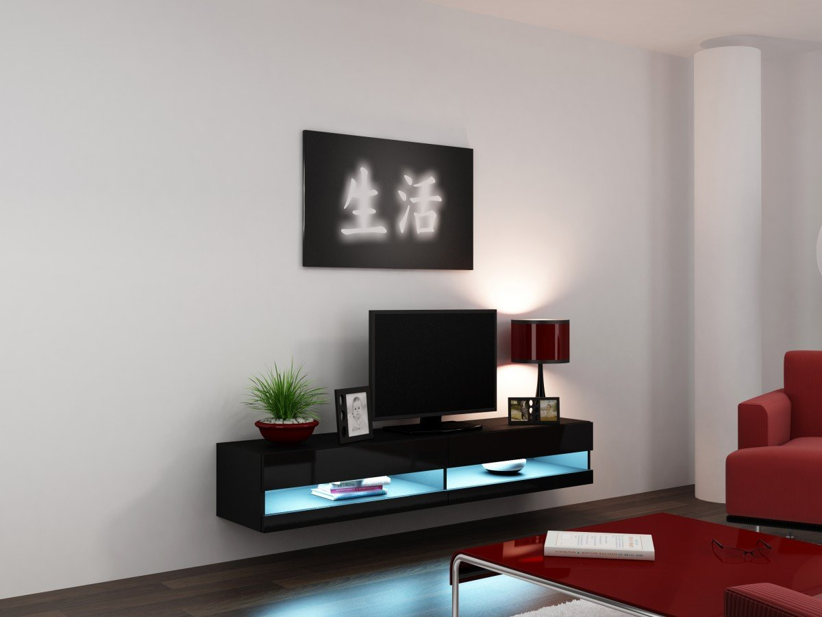 Amazon.com: Concept Muebles 80 Inch Seattle High Gloss LED TV Stand    Black: Kitchen U0026 Dining Part 50