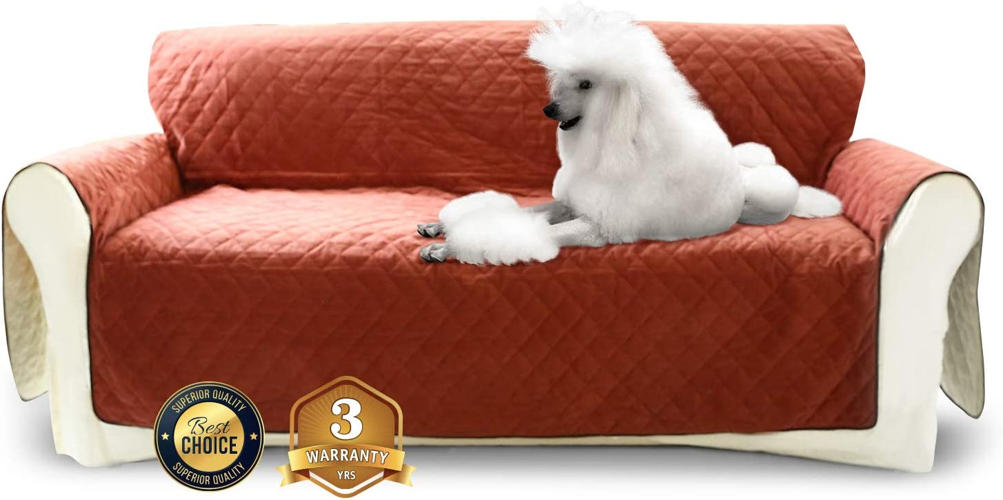 Luxe Pets Premium Luxury Sofa Cover for Dogs Cats Color Options Waterproof, Five Pockets Silicone Non-Slip Bottom, Seat Anchors, Adjustable Velvet Furniture Protector 3yr Warranty