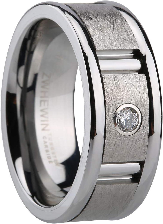 HEWINZW タングステンリング メンズ 9mm レンガ模様 つや消しシルバー表面 ジルコン婚約結婚指輪 快適フィット サイズ7~13