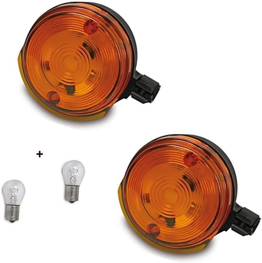 hinten 12V Blinker SET: 4 Blinker Orange E-Zeichen 4 Lampen 12V Ba15s f/ür SIMSON S50 S51 SR50 Halter vorn