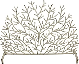 MY SWANKY HOME Distressed Cream White Twig Branch Iron Firescreen Arch Fireplace Screen Organic
