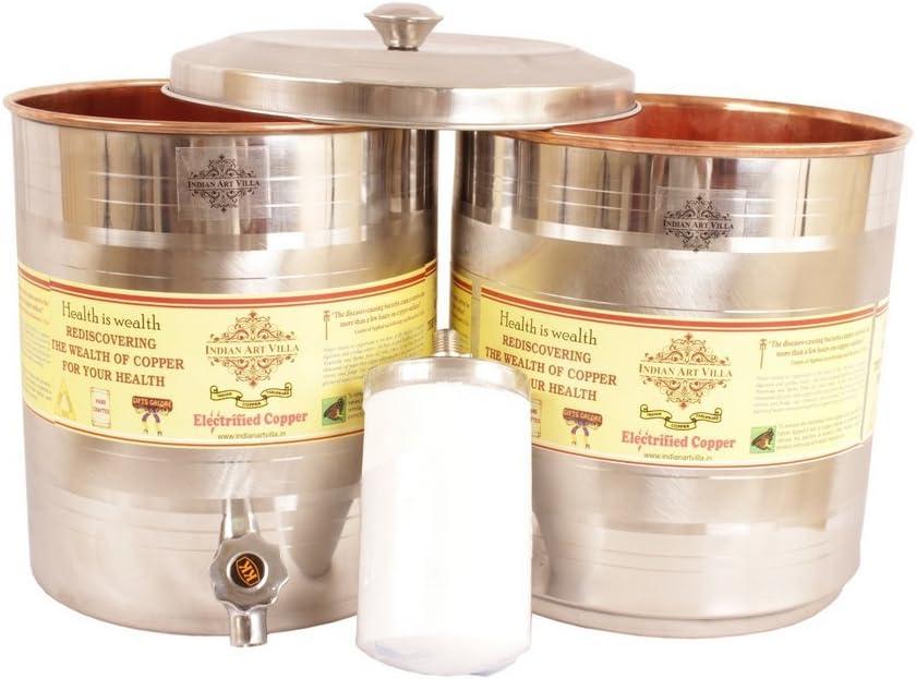 IndianArtVilla Acero Cobre depósito de Agua contenedor Pot con ...
