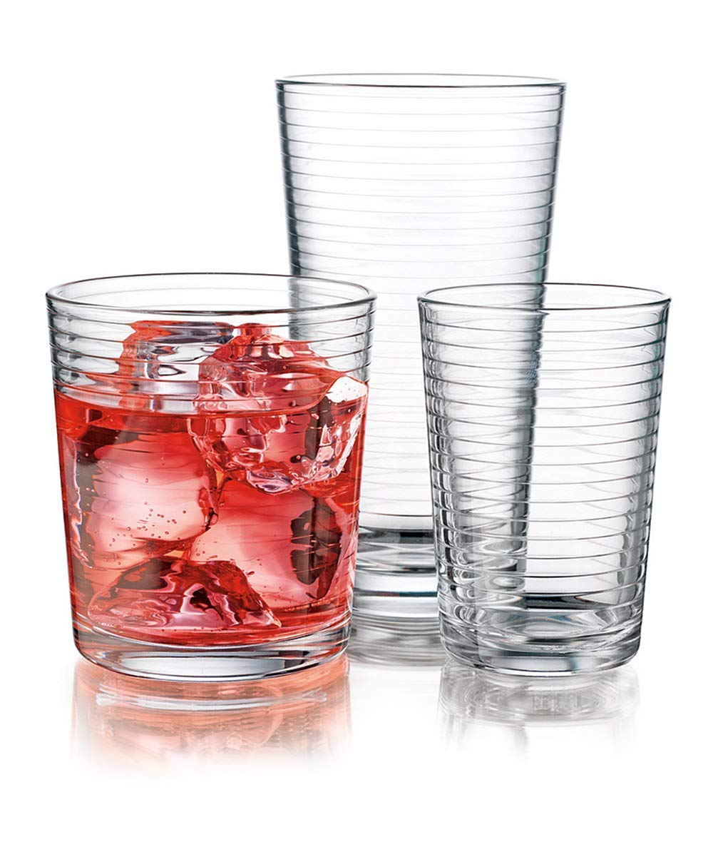 Durable Drinking Glasses [Set of 18] Glassware Set Includes 6-17oz Highball Glasses, 6-13oz Rocks Glasses, 6-7 oz Juice Glasses| Heavy Base Glass Cups for Water, Juice, Beer, Wine, and Cocktails