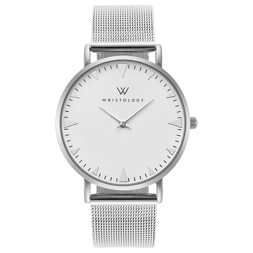WRISTOLOGY Stella Womens Silver Boyfriend Watch Metal Mesh Changeable Strap Band