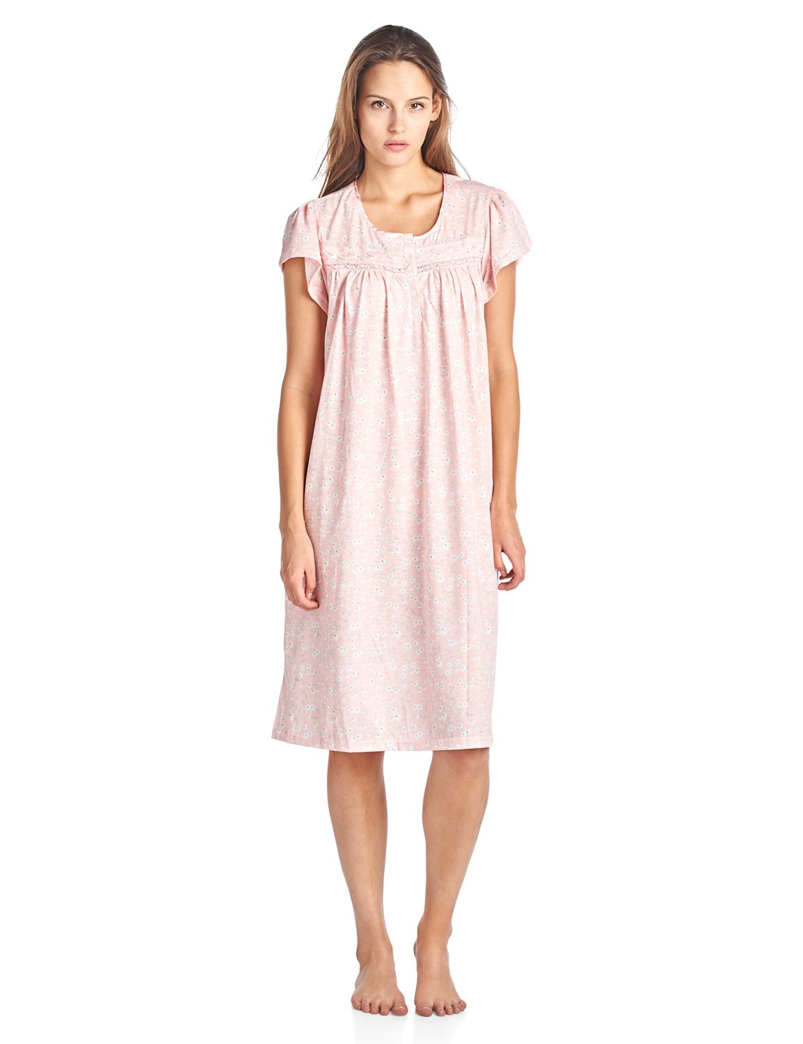 Casual Nights Women's Short Sleeve Floral Lace Nightgown - Pink - Large