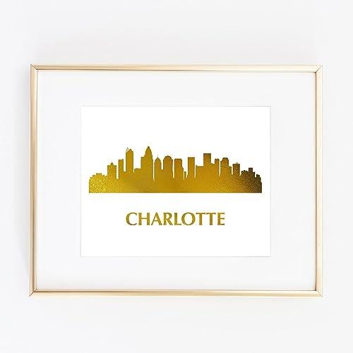 Amazoncom Charlotte Nc North Carolina Gold Foil Art Wall Print - Us-map-charlotte-nc