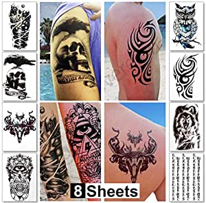 Large temporary tattoos for guys for men for Fake tattoos amazon