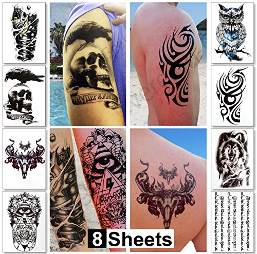 Temporary Tattoos for Men Guys & Teens Fake Tattoo Stickers (8 Large Sheets) Tattoos for Boys Biker Tattoos Rocker Transfers for Arms Shoulders Chest & Back - Body Art Tattoo Sticker Waterproof Black -