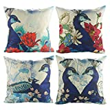 Luxbon Set 4Pcs Beautiful Garden Flower Peacock Cotton Linen Throw Pillow Cases Home Sofa Decor Cushion Covers 18''X18''/45x45cm