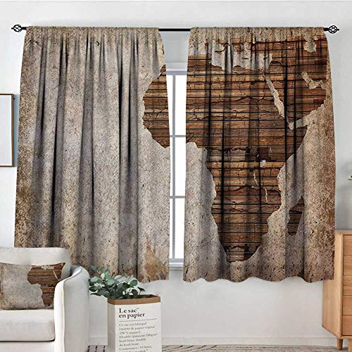 All of better African Room Darkening Curtains Geography Theme Grunge Vintage Wooden Plank and Africa Map Digital Print Patterned Drape for Glass Door 55