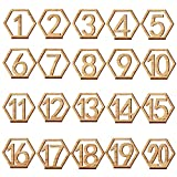 She-love 20 pcs 1-20 Wooden Wedding Table Number with Holder Base for Wedding, Party, Events or Catering Decoration