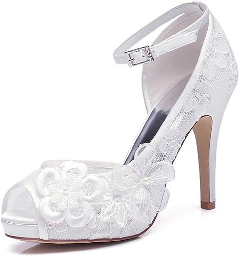 YOOZIRI White Lace Wedding Shoes for