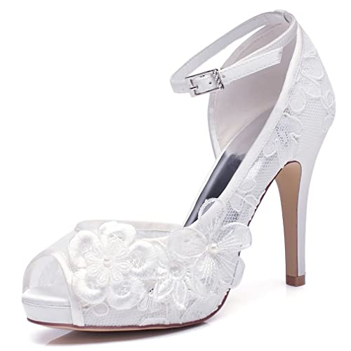 adcea17f85 YOOZIRI White Lace Wedding Shoes For Bridal With Floral brooches Medium  Heel 4inch Peep Toe-RS8860-Ivory: Amazon.co.uk: Shoes & Bags