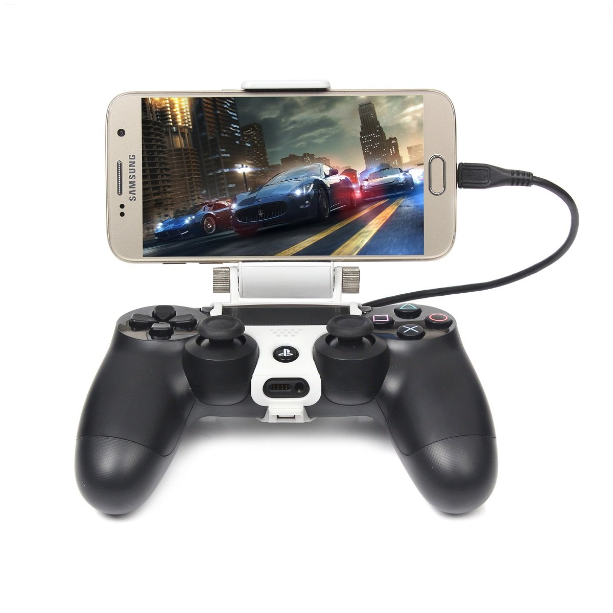 Megadream [2nd Generation] PS4 Controller Phone Clip Holder for Sony Playstation 4 PS4 Pro Slim, 180 Degree Adjustable Mount Stand Android Samsung Galaxy S8 S8+ S7 Edge S7 S6 Note 8 6 Maximum 7.9inch by Megadream