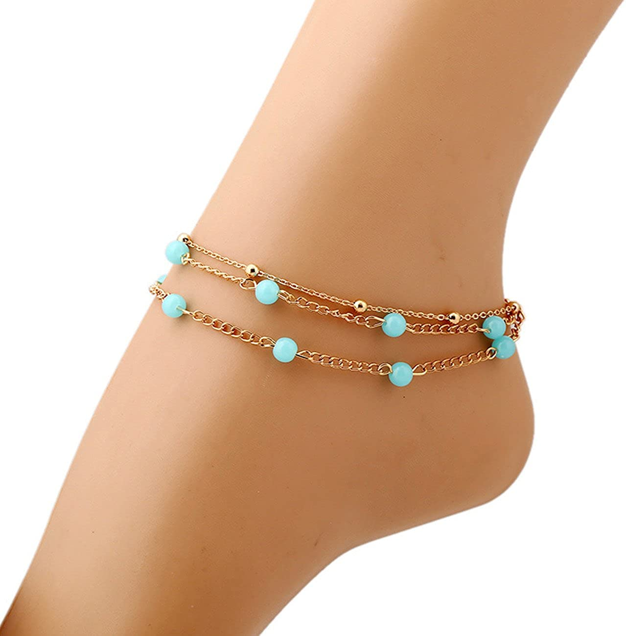 OCTCHOCO Three Piece Gold Plated Chain Blue Beads Ankle Bracelet Barefoot Sandal Beach Foot Jewelry