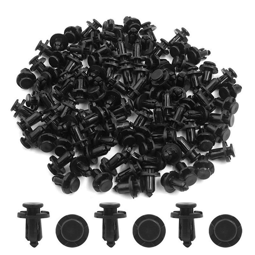 Demino 100PCS en Plastique Noir Rivet Voiture Fender Pare-Chocs Punaise Clips 10mm Remplacement du Trou pour Toyota Noir