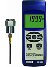 Reed SD-8205 Vibration Meter and Data Logger, 0.1 mm/s Resolution, Plus /-5 Percent Accuracy, 0.5 to 199.9 mm/s Velocity Range