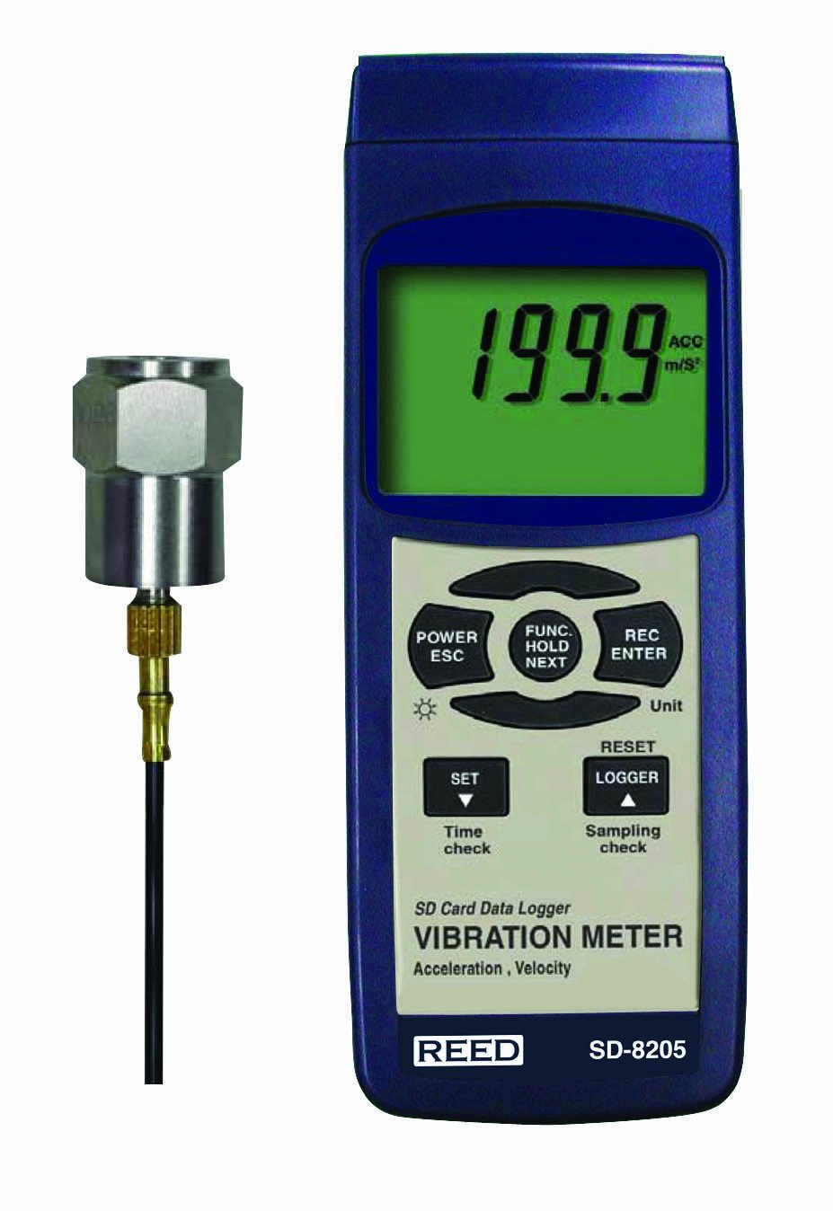 Reed SD-8205 Vibration Meter and Data Logger, 0.1 mm/s Resolution, +/-5 Percent Accuracy, 0.5 to 199.9 mm/s Velocity Range