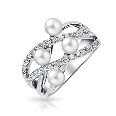 7634e86fbd97 Bling Jewelry 925 Silver CZ Simulated Pearl Criss Cross Cocktail Ring White  6