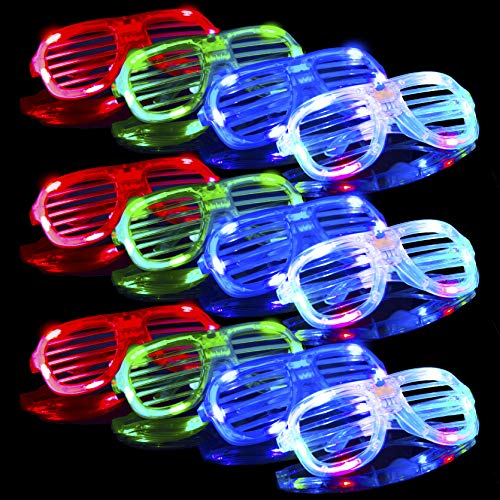 Glasses – Bulk Neon Light Up Sunglasses 2019 New Years Eve Party Supplies, Shutter Shades Kids Adults NYE LED Party Favors (12pk) ()