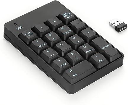 Teclado Numérico Inalámbrico, Jelly Comb 2,4 GHz Teclado Numérico 18 Teclas Estándar con Nano Receptor para Ordenador/iMac/MacBook, Negro