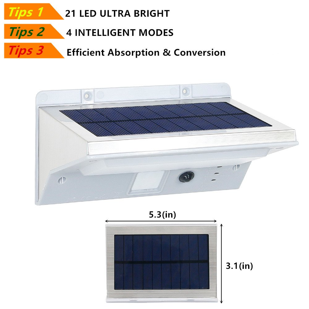 HowFine 21 LED Outdoor Solar Motion Sensor Light Waterproof Wireless Stainless Steel Security LED Light for Patio Deck Yard Garden Home Driveway Stair Wall - 200 Lumens Max Super Bright