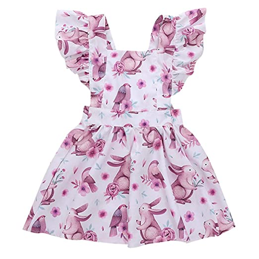 9240f0925f6 Amazon.com  Lookvv Infant Baby Toddler Girl Summer Outfit Rabbit Print  Easter Dress Sleeveless Overalls Skirt  Clothing