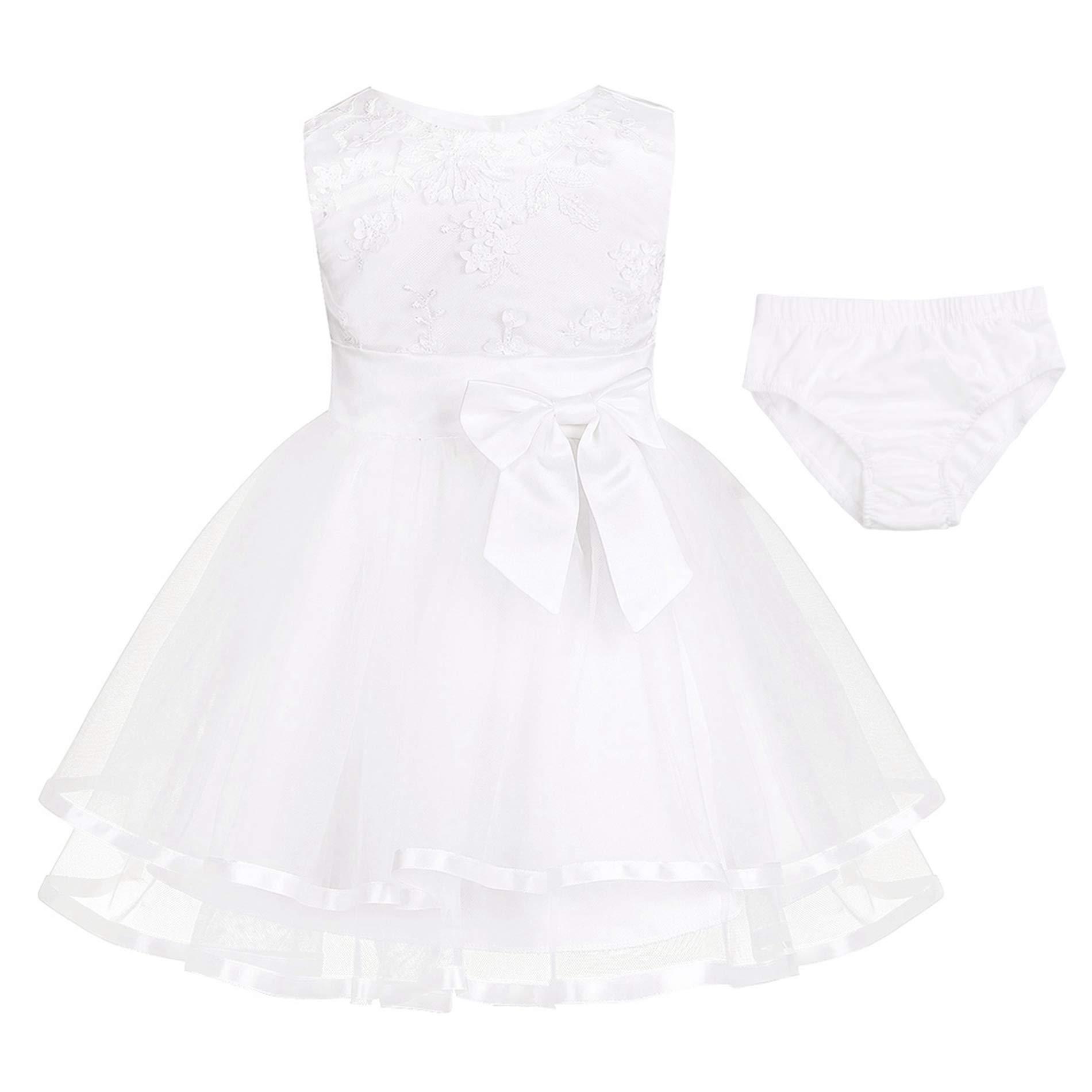 79369de25705b iiniim Robe Princesse Baptême Fête Partie Courte Bébé Fille Brodé Fleurs 3D  Coton sans Manches Boutons