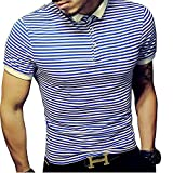 LOGEEYAR Mens Summer Slim Fit Contrast Color Stitching Stripe Short Sleeve Polo Casual T-Shirts (Large, 501-blue)