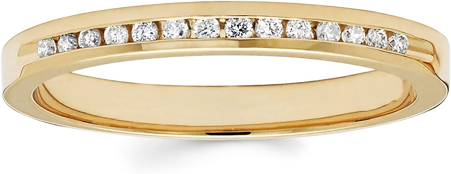 14K Yellow Gold .10 Cttw I Color, I1 Clarity Diamond Channel Set Wedding Anniversary Band Ring
