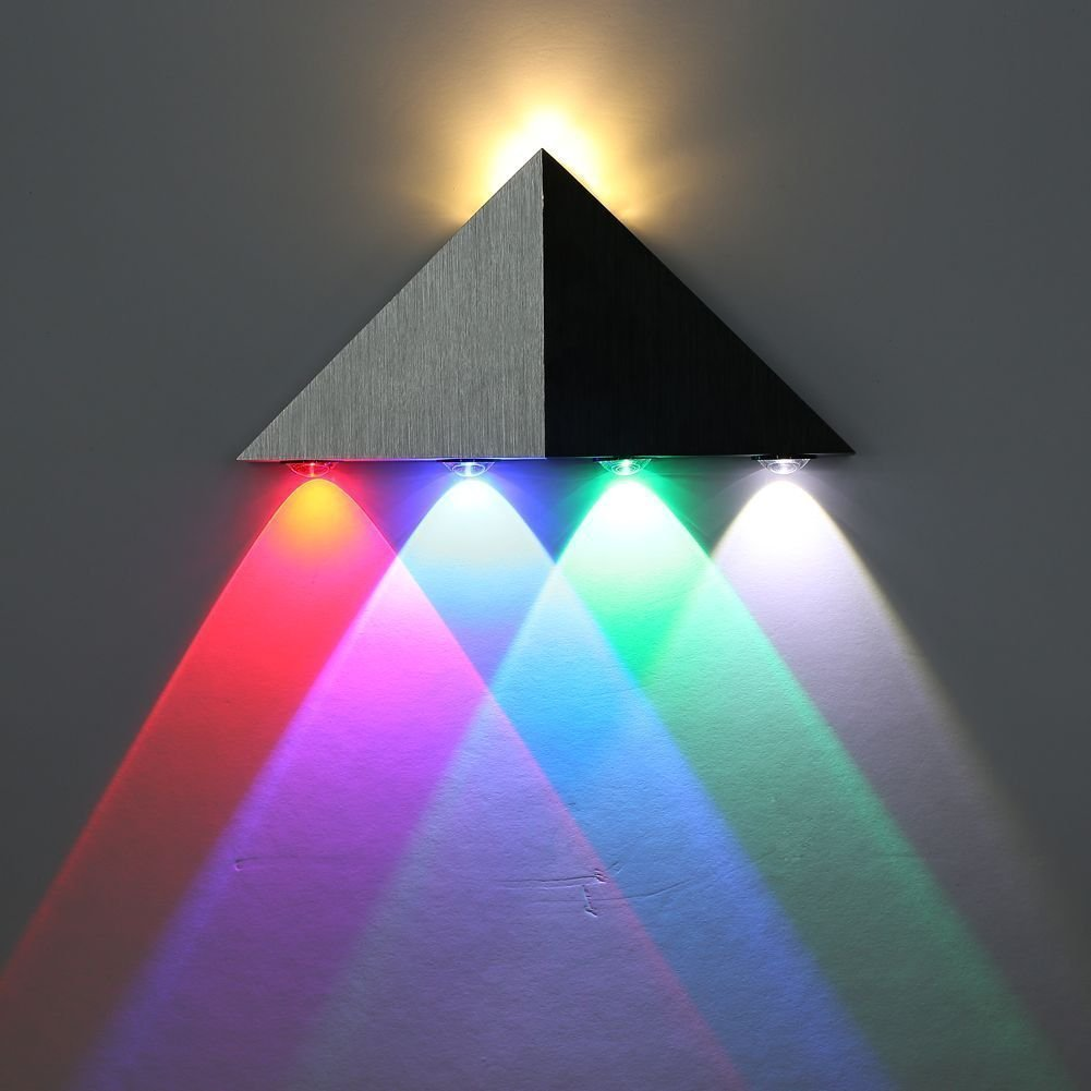 Lightess Up Down Wall Lights LED Modern Sconce Spotlight Lighting Triangle Shape Mini Lamp for Theater Movie Room, Multiple Color 5W