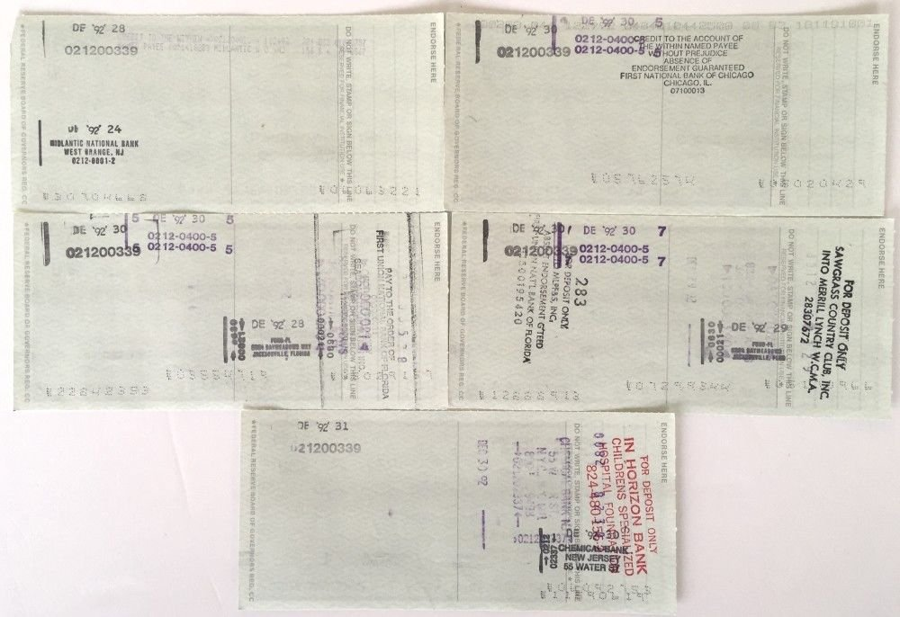 Bobby Thomson New York Giants Signed Autographed Personal Checks 4449 4453 JSA Certified