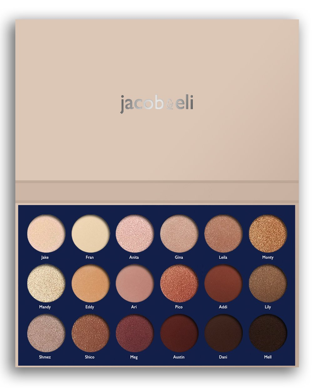 18 Super Pigmented - Top Influencer Professional Eyeshadow Palette all finishes, 5 Matte + 9 Shimmer + 4 Duochrome - Buttery Soft, Creamy Texture, Blendable, Long Lasting Stay (Bare) by Jacob & Eli (Image #1)