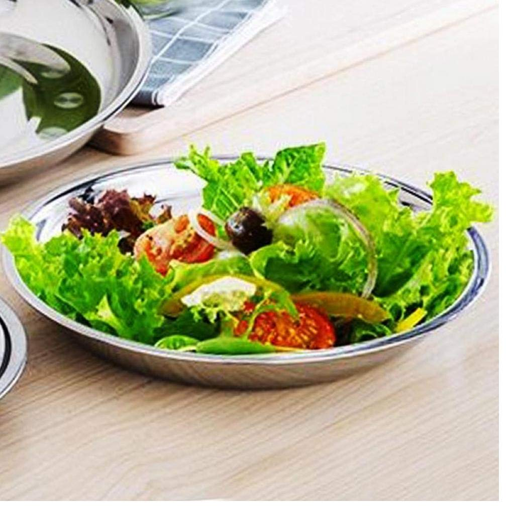 Zonster 1Pc Acier Inoxydable 18cm Camping Dia Art de la Table Assiette Contenant /à