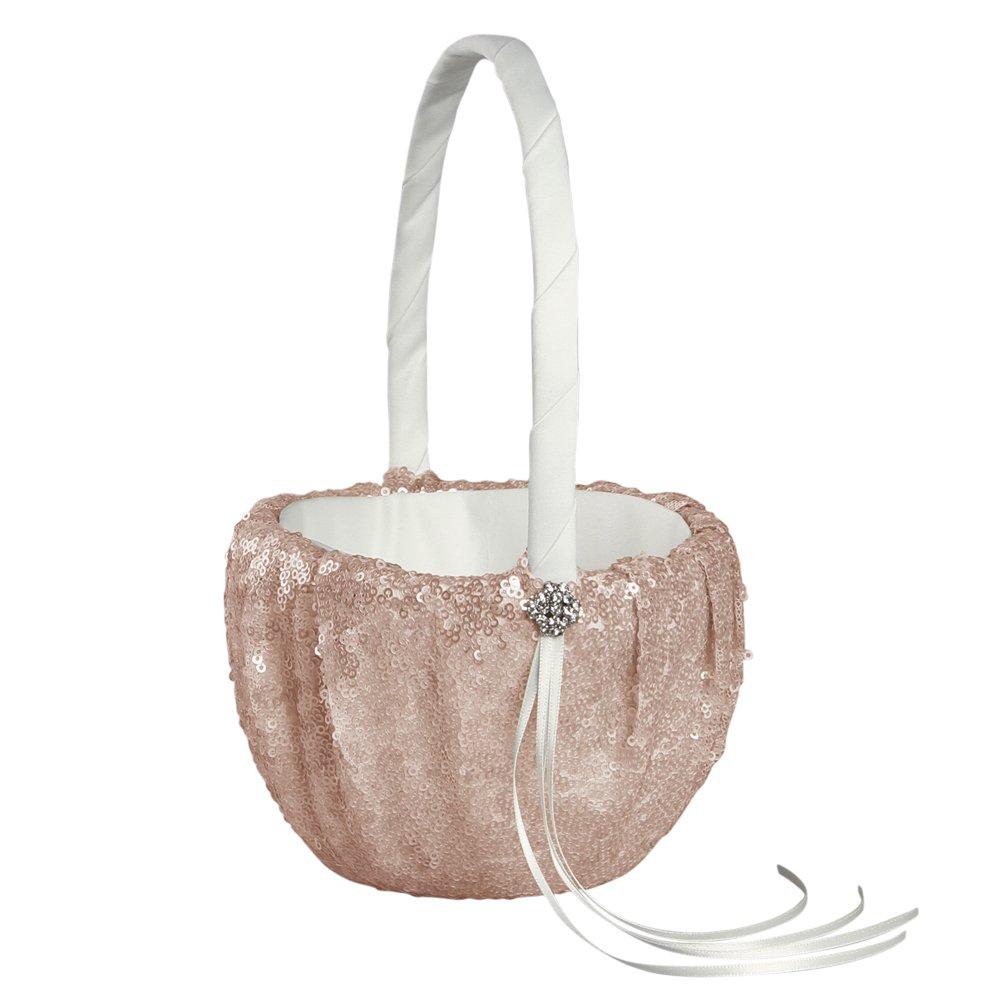 Ivy Lane Design Elsa Matte Sequin Flower Girl Basket, Blush