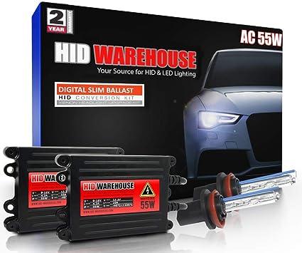 5K Bright White HID-Warehouse 55W AC Xenon HID Lights with Premium Slim AC Ballast Bi-Xenon 9004 5000K 2 Year Warranty