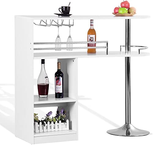 Homegear Kitchen Cocktail Bar Table – White