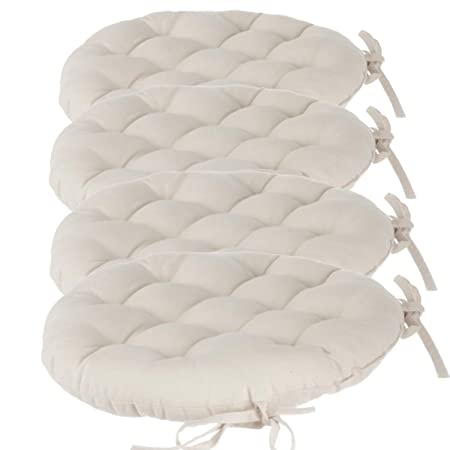 set of 4 round padded chair cushions with ties diameter 40cm 100