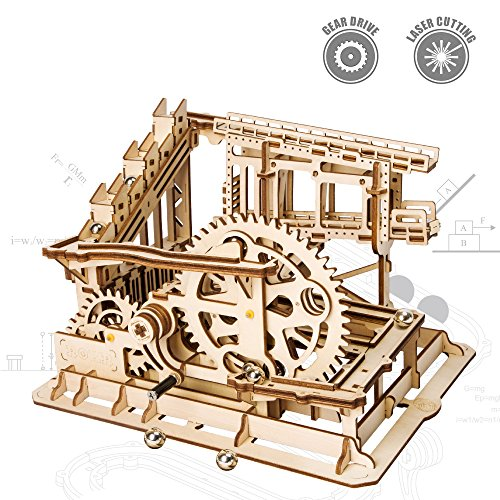 Unique Wooden Toys - ROKR Wooden Marble Run Sets-Assembly Magic Tracks Toys-Fantastic Educational Toy-Wooden Puzzle Model Kit-Home Decor-Unique Christmas,Birthday Gifts for Boys,Girls,Teens,Adults(Cog Coaster)
