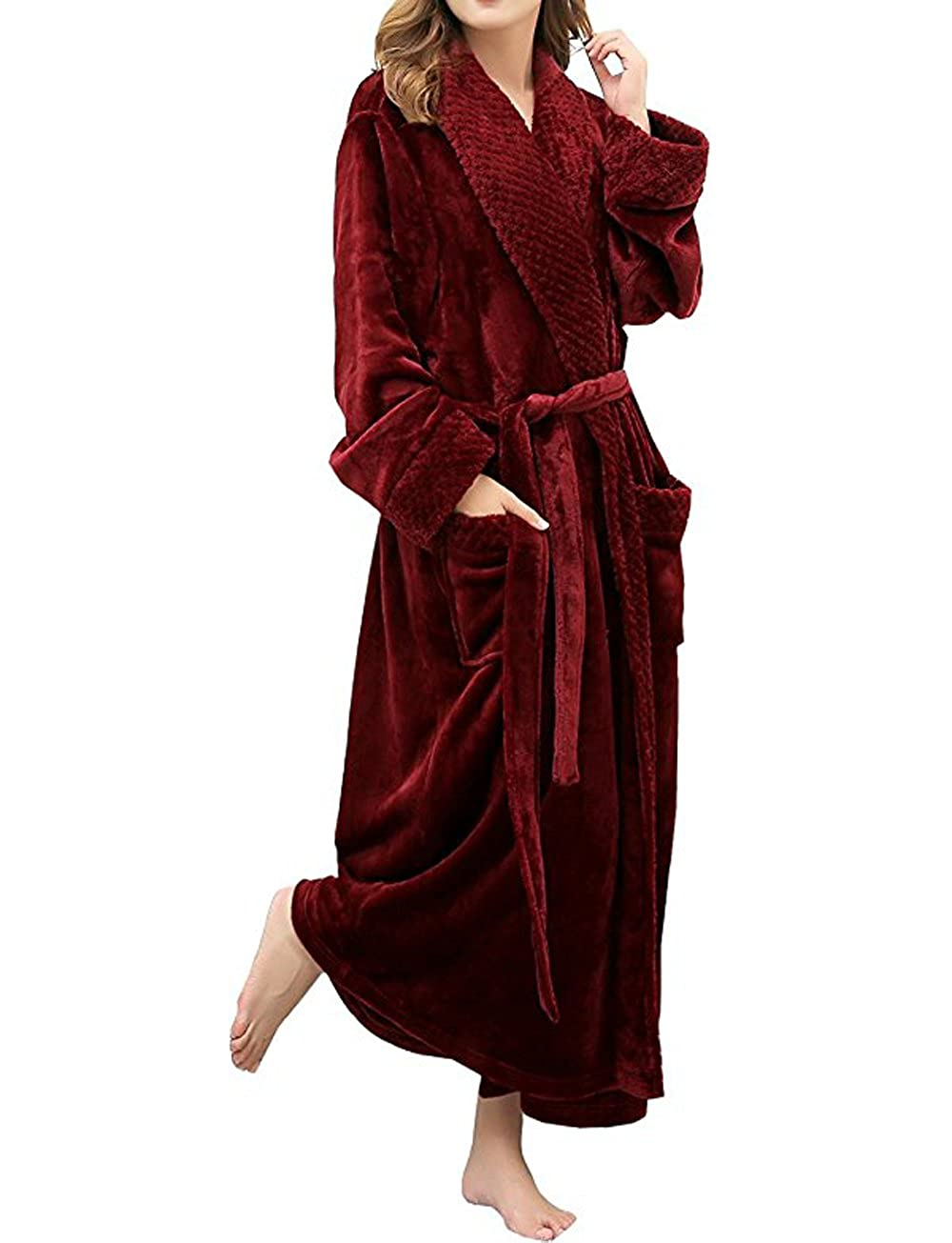 DSNOW Ladies Luxury Full Length Dressing Gown Towelling Bathrobe Fluffy Nightwear