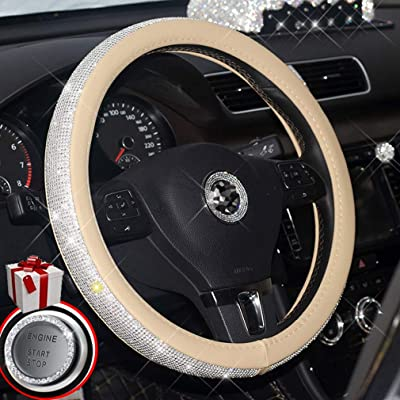 MLOVESIE Leather Steering Wheel Cover with Crystal Bling Bling Rhinestones for Girls,Lady Universal Fit 38cm (Beige): Automotive