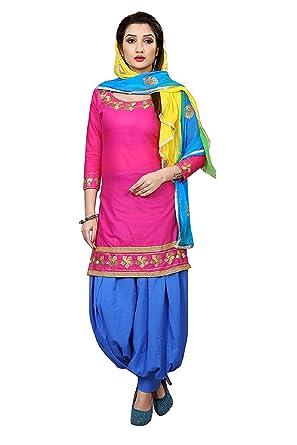 53897de612 Spangel Fashion Women's Pink Cotton Unstitched Patiyala Salwar Suits/Patiala  Dress Materials
